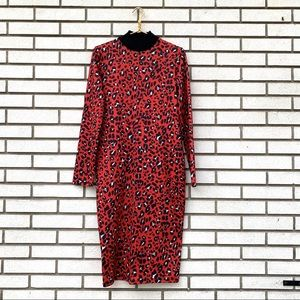 NWT Zara Basic Red Leopard Tube Bodycon Dress